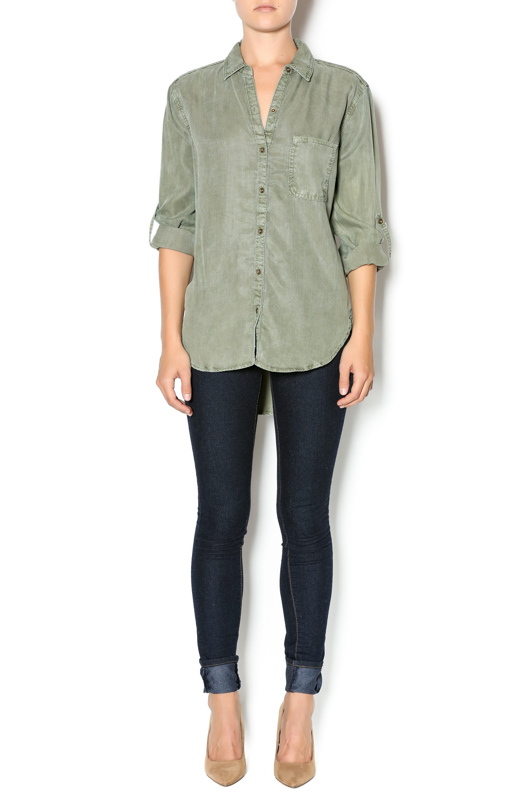 Sneekpeak Olive Button Down Shirt From Miami By Allie Chica
