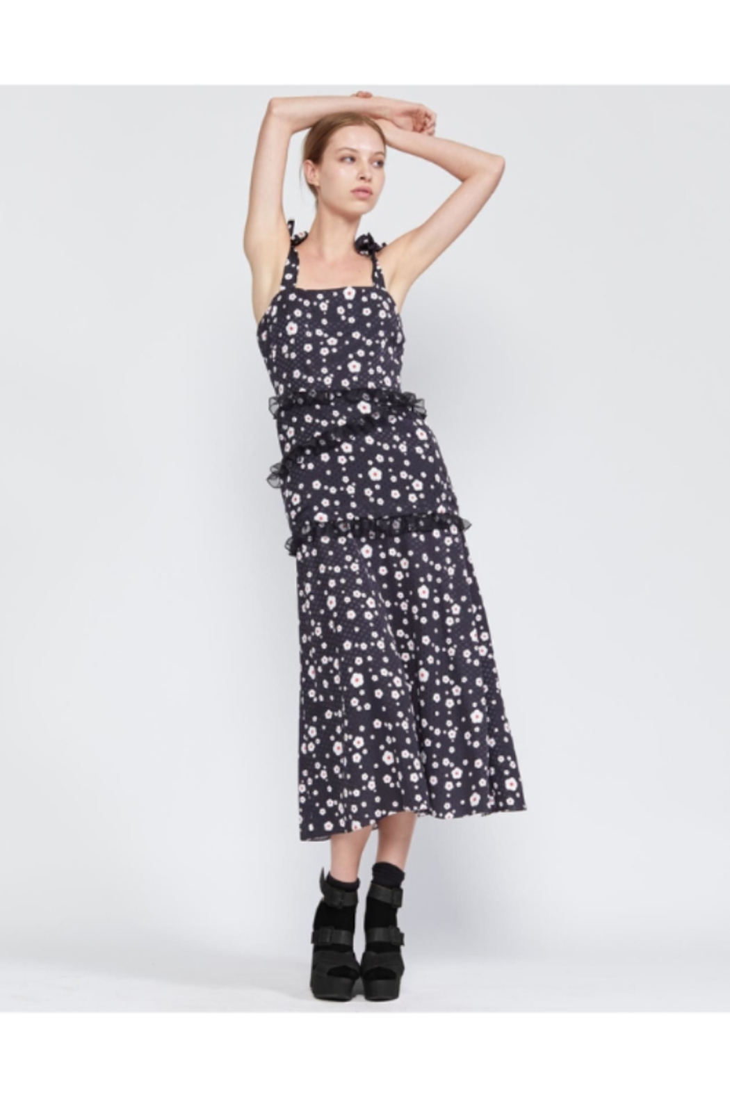 Cynthia Rowley Snow Daisy Tie Shoulder Fitted Dress - Side Cropped Image