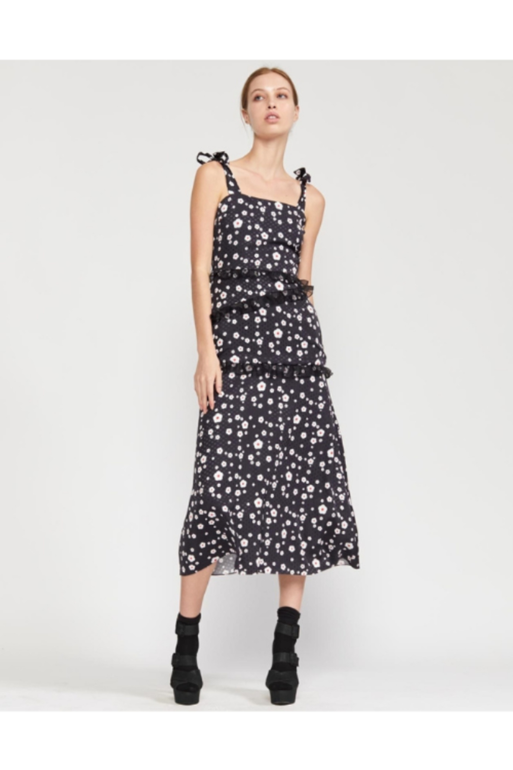Cynthia Rowley Snow Daisy Tie Shoulder Fitted Dress - Main Image