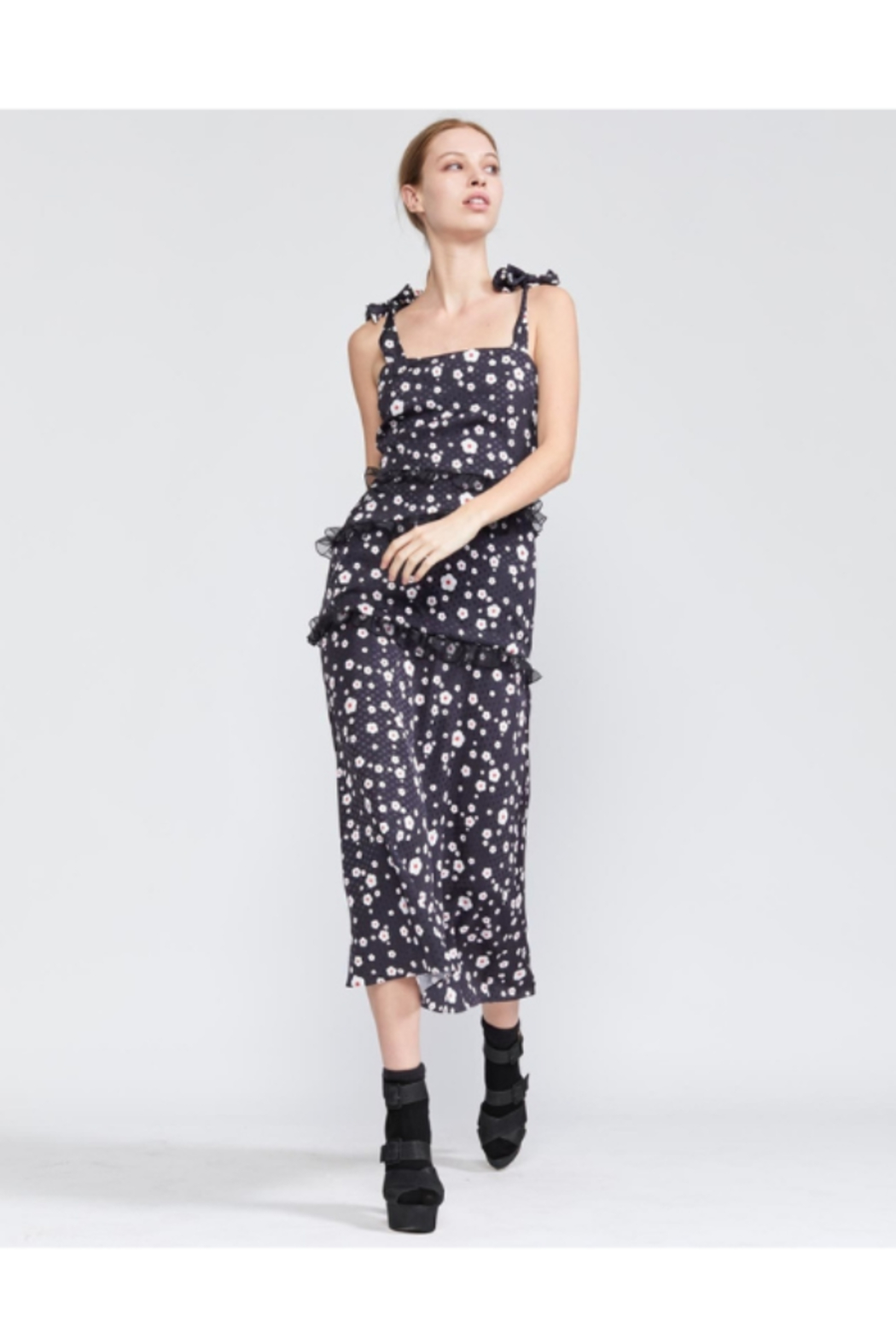 Cynthia Rowley Snow Daisy Tie Shoulder Fitted Dress - Front Full Image