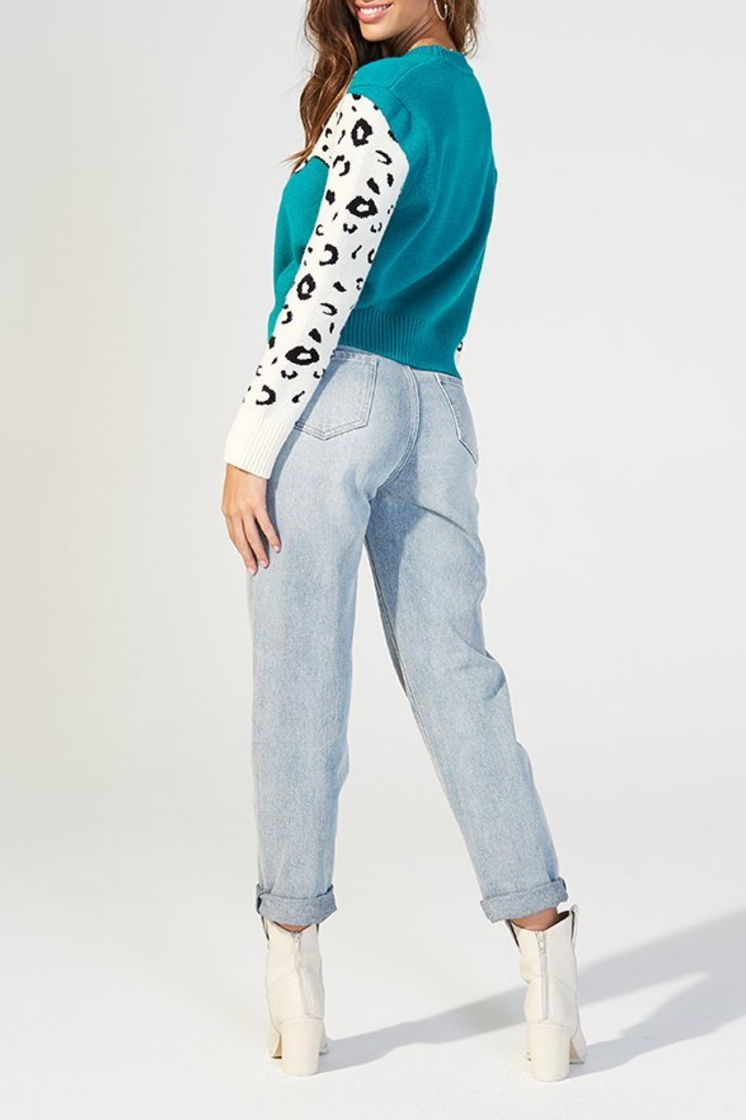 MINKPINK Snow Leopard Contrast Arm Sweater - Side Cropped Image