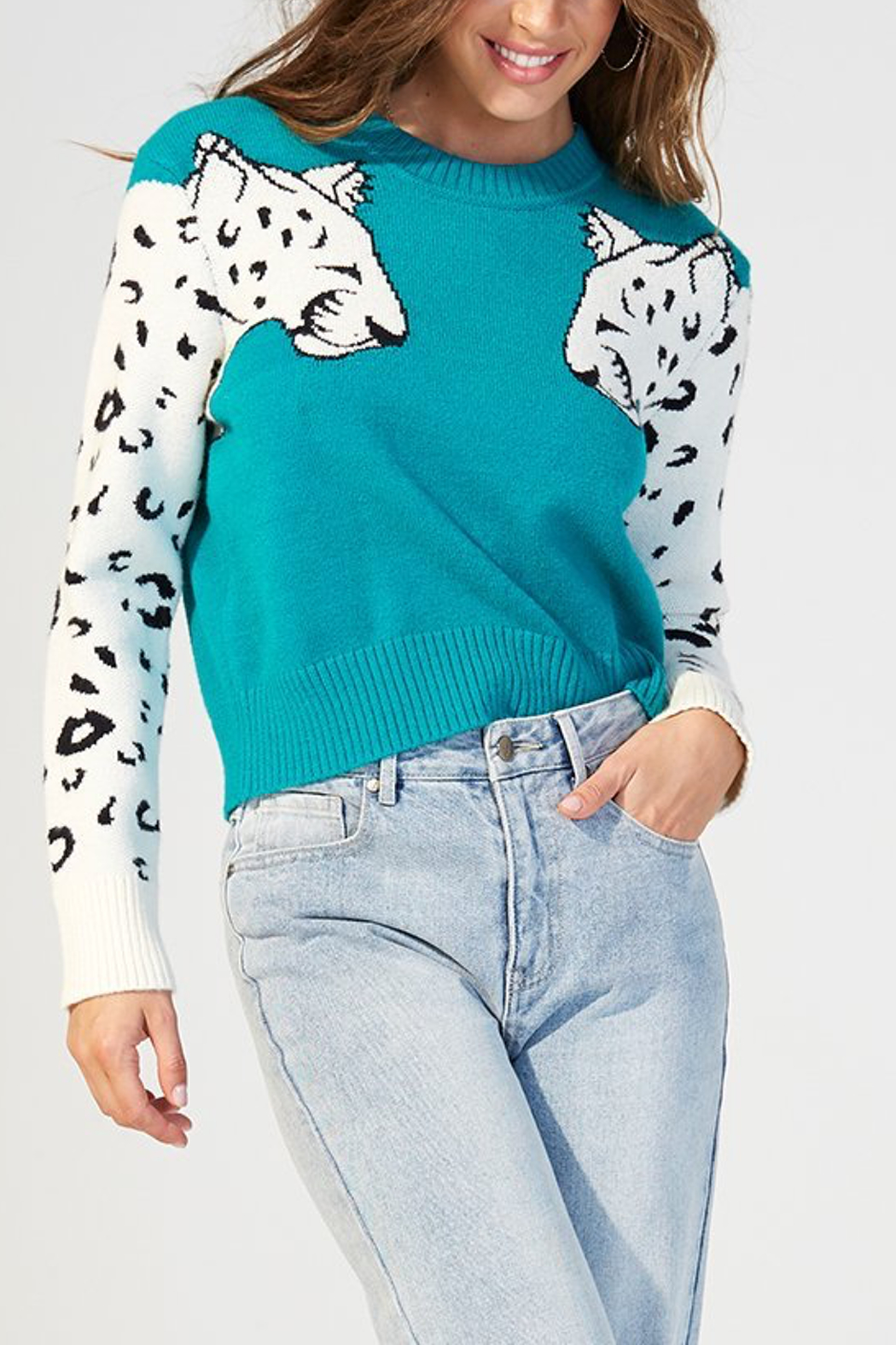 MINKPINK Snow Leopard Contrast Arm Sweater - Front Cropped Image
