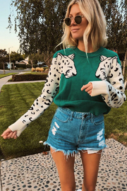 MINKPINK Snow Leopard Contrast Arm Sweater - Product Mini Image