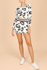 Honey Punch Snow Leopard Fuzzy Sweater - Front cropped