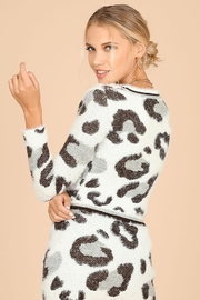 Honey Punch Snow Leopard Fuzzy Sweater - Front full body