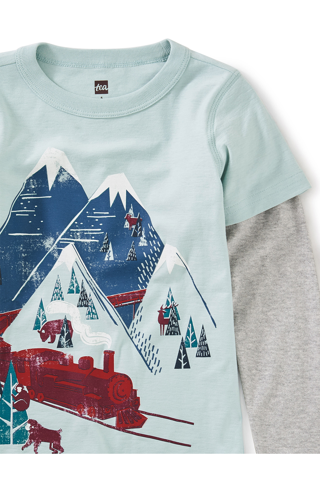 Tea Collection Snow Train Graphic Tee - Back Cropped Image