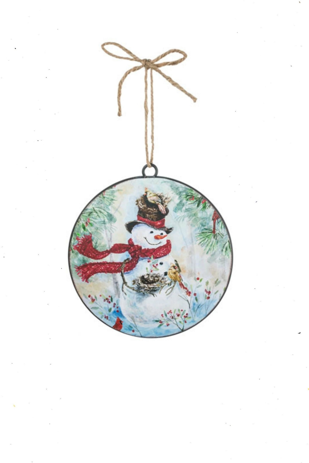 Sullivans Snowman-With-Nest Metal Ornament - Front Cropped Image