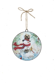 Sullivans Snowman-With-Nest Metal Ornament - Front cropped