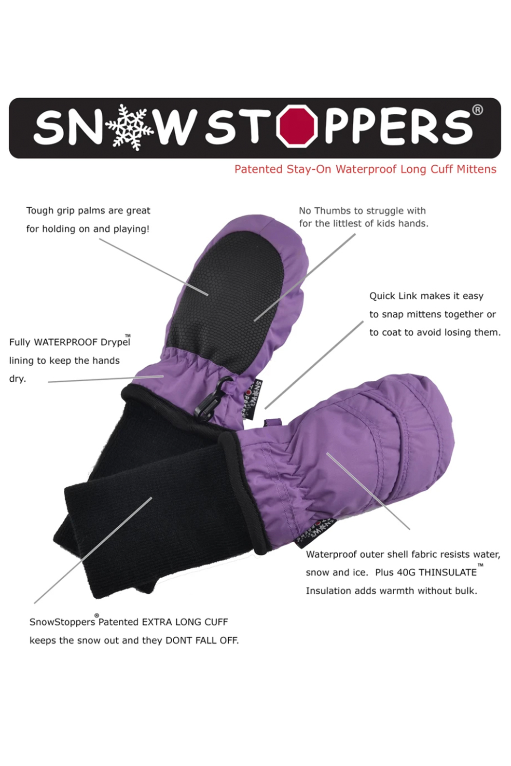 SnowStoppers  SnowStoppers® Original Extended Cuff Mittens - Front Full Image