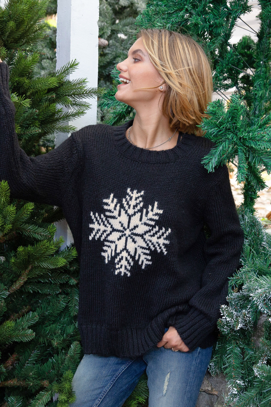 Wooden Ships Snowy Wish Crew - Black - Back Cropped Image