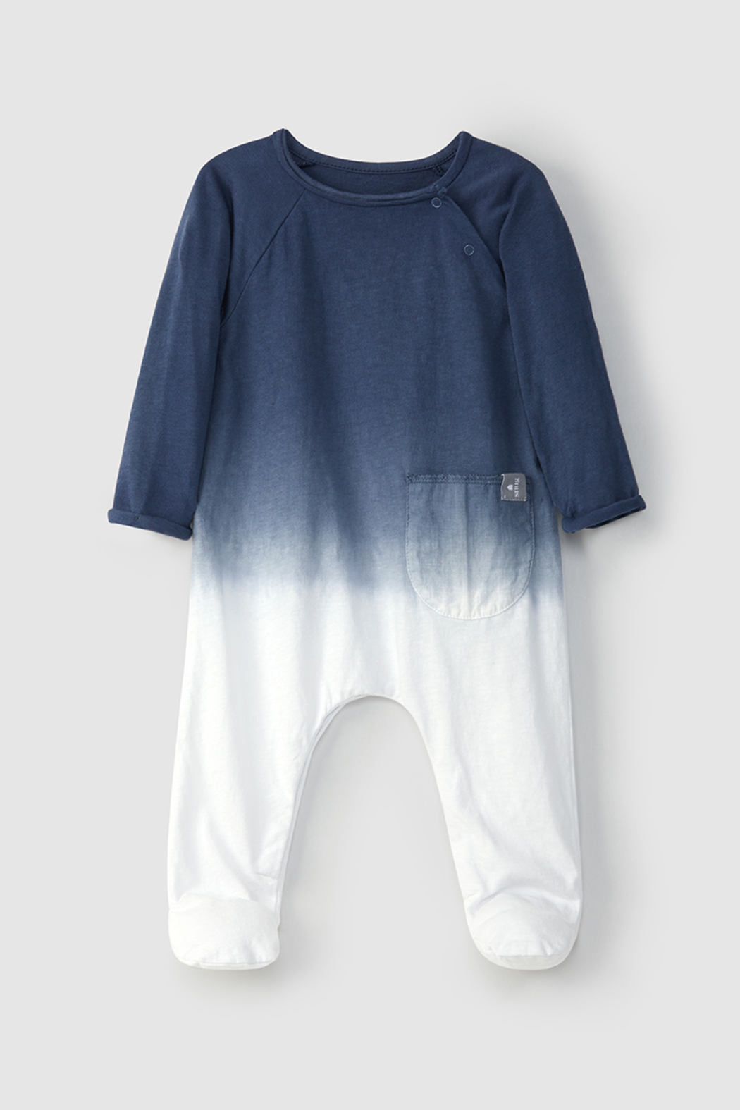 SNUG Baby Dip Dye Long Sleeve Cotton Footie For Infant - Front Cropped Image