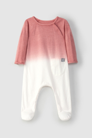 SNUG Baby Dip Dye Long Sleeve Cotton Footie For Infant - Front cropped