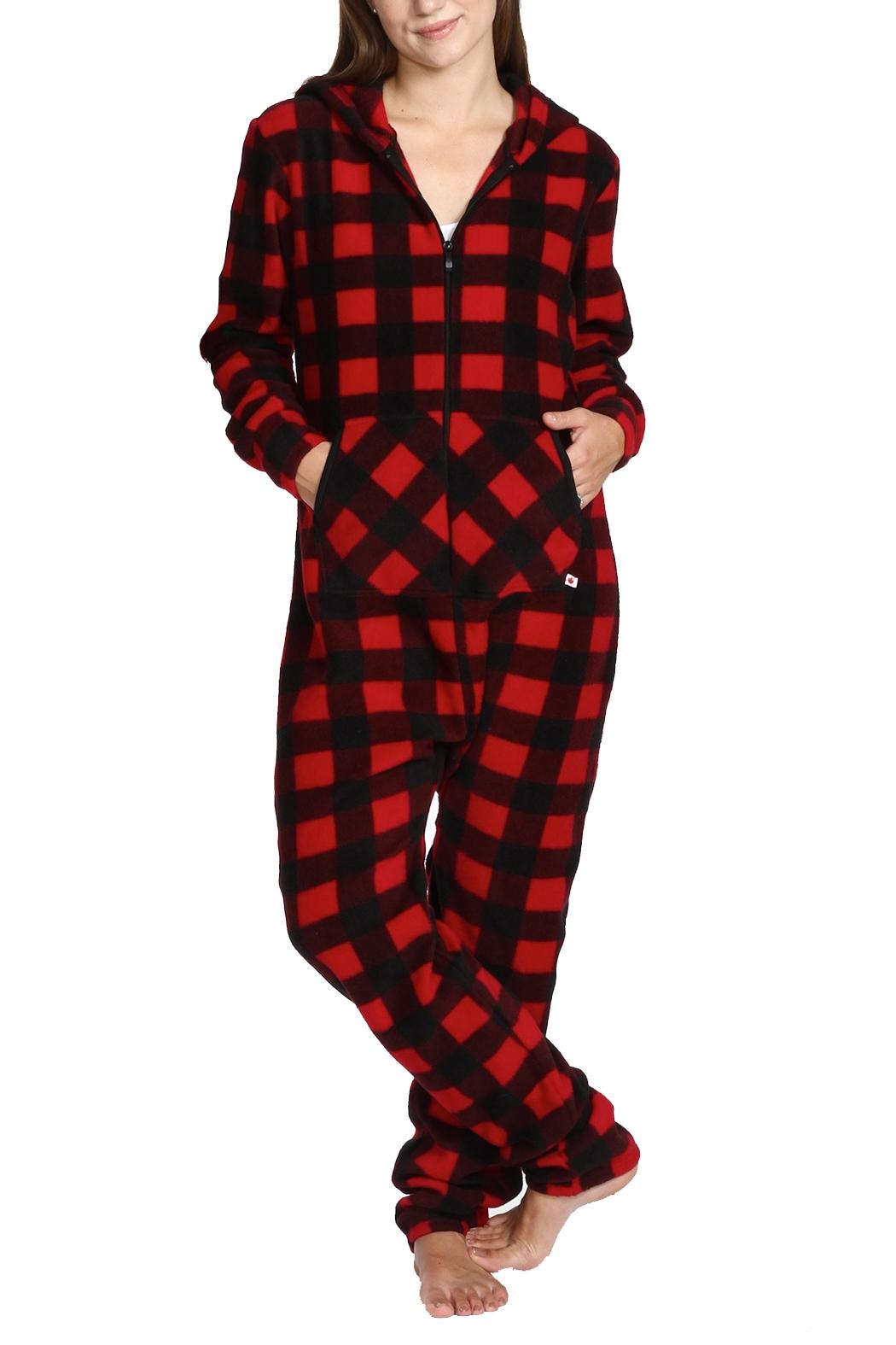 Snug As a Bug Canada Plaid Footless Onesie - Front Cropped Image