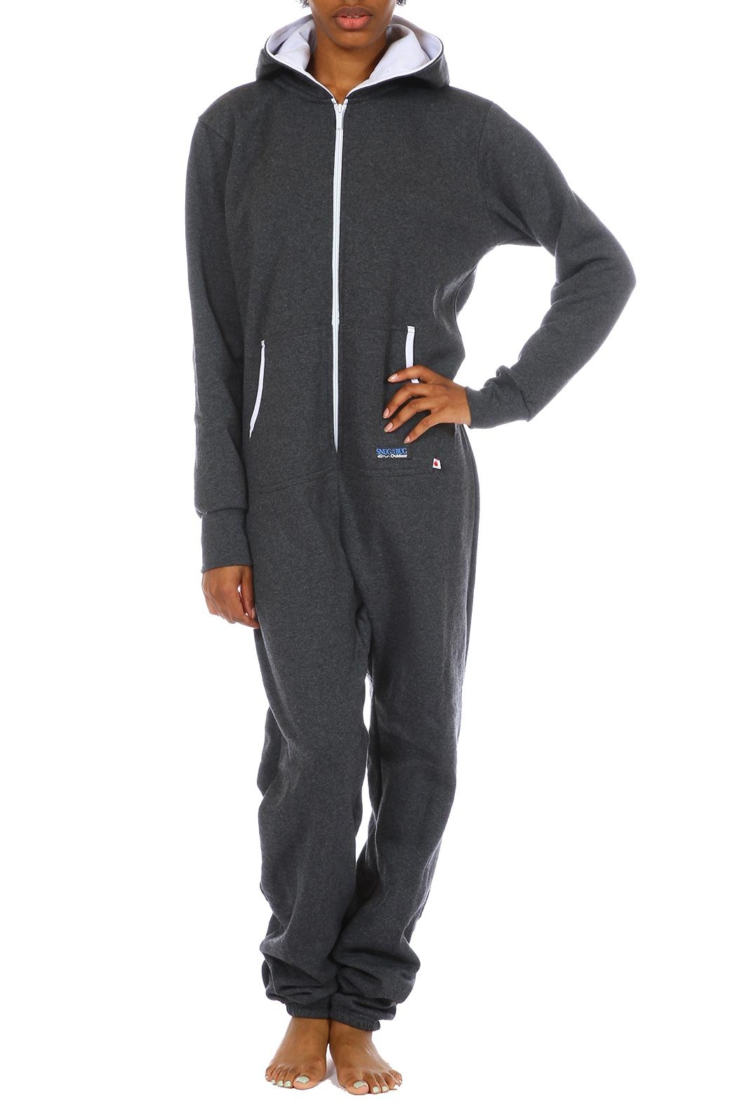 Snug As a Bug Charcoal Onesie - Front Cropped Image