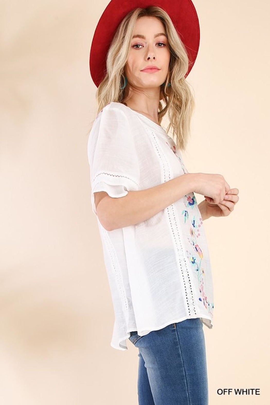 Umgee USA So-Much-Detail Embroidered Top - Side Cropped Image