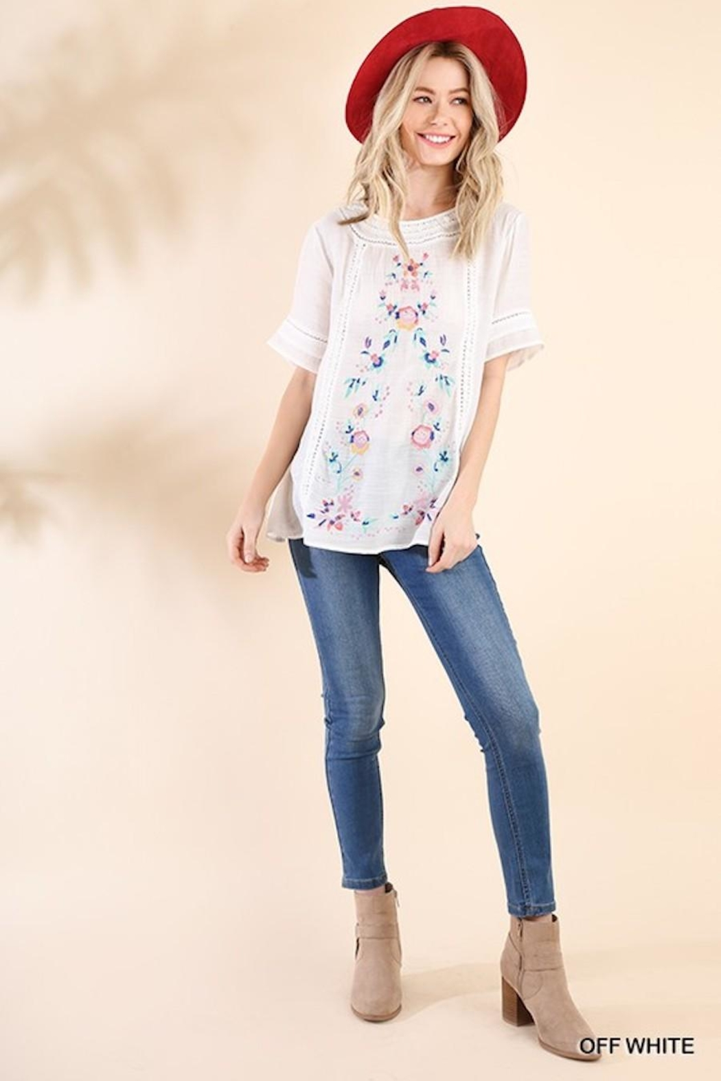 Umgee USA So-Much-Detail Embroidered Top - Front Full Image