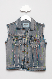 So Nikki Paint Splatter Denim Vest - Product Mini Image