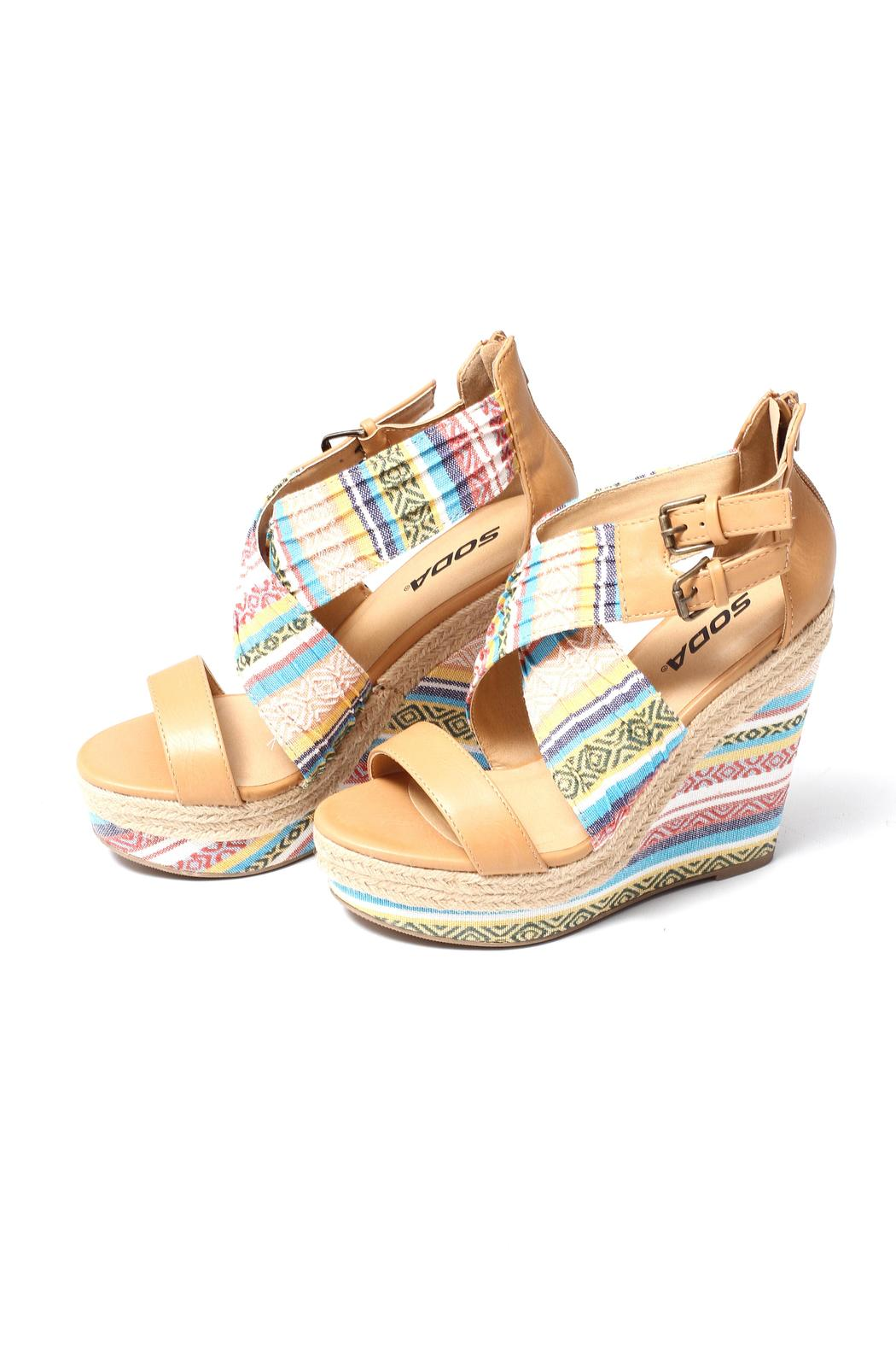 Soda Aztec Print Wedge - Back Cropped Image