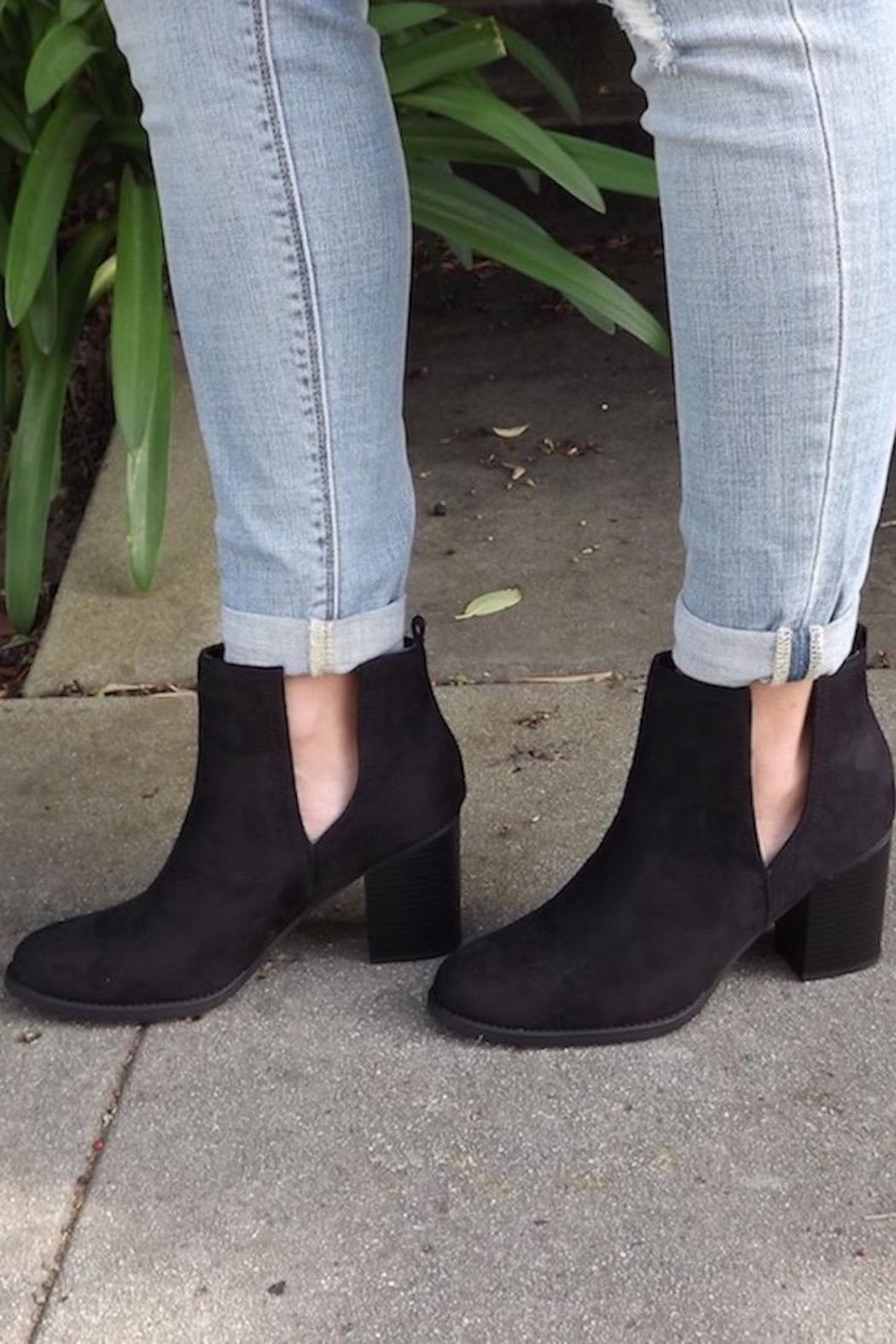 Soda Black Cut-Out Booties - Main Image