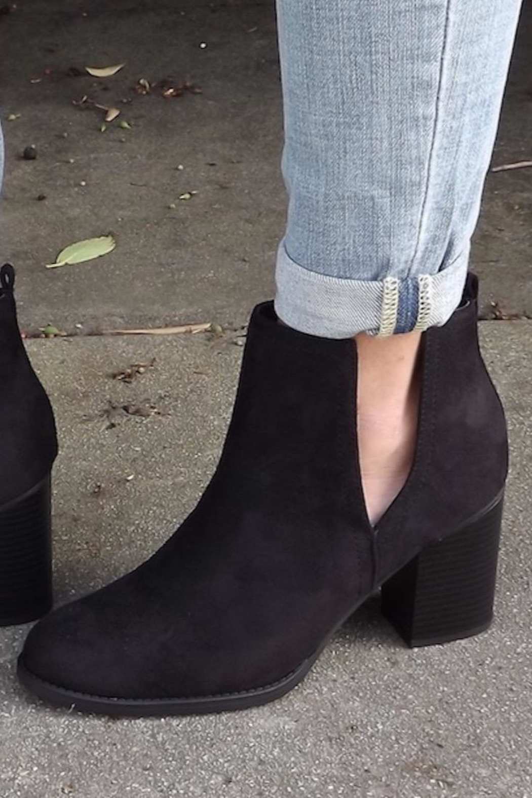 Soda Black Cut-Out Booties - Front Full Image