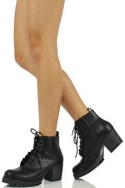 Soda Chunky Heel Combat - Back cropped