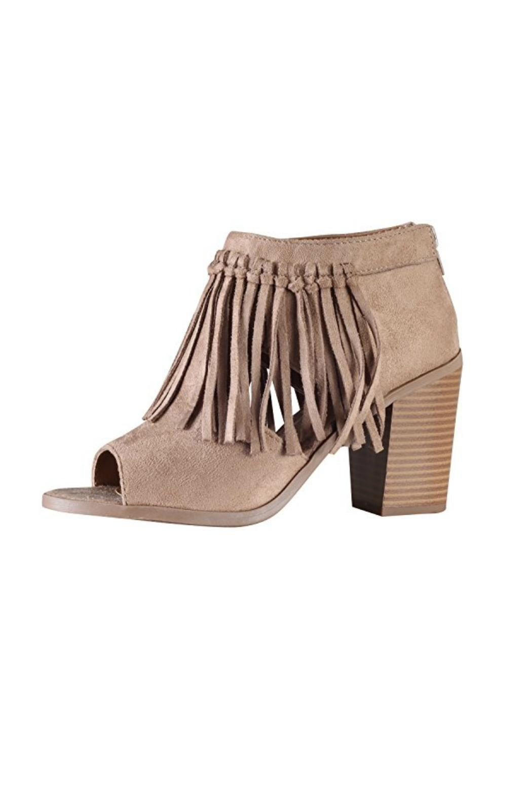 Soda Fringe Accent Booties - Front Cropped Image