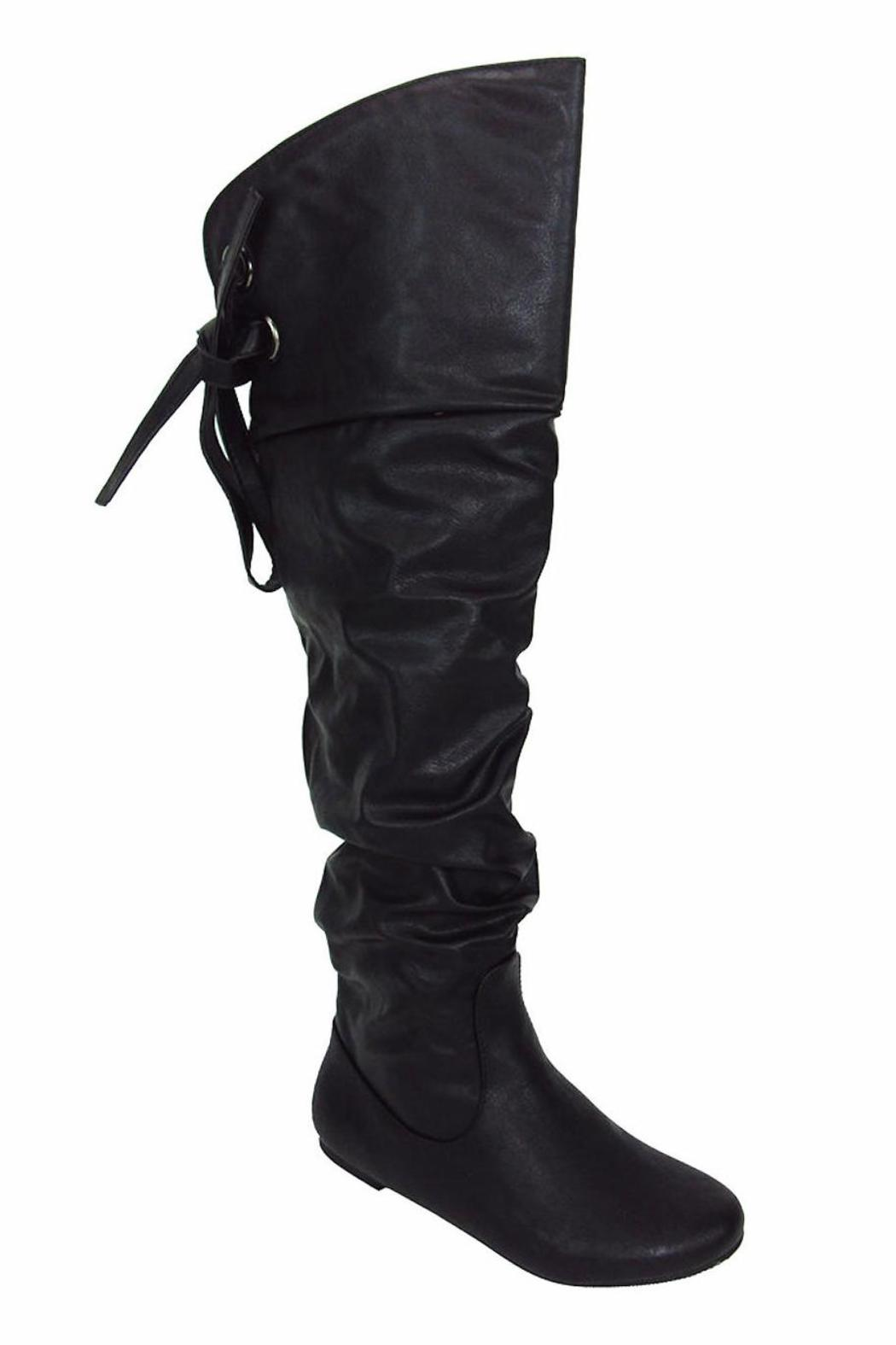 Soda Slouchy Lace-Back Boot - Front Full Image