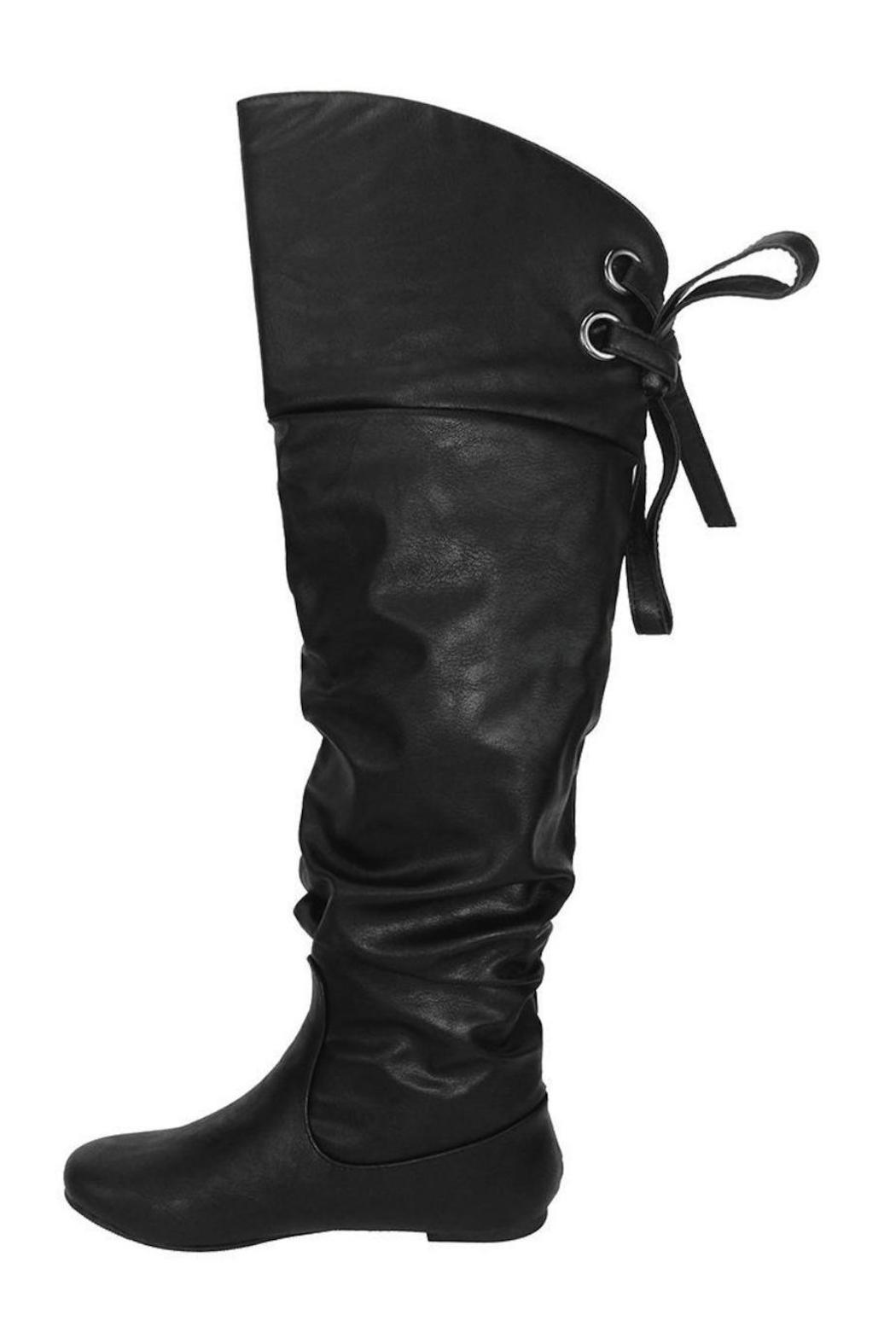 Soda Slouchy Lace-Back Boot - Front Cropped Image