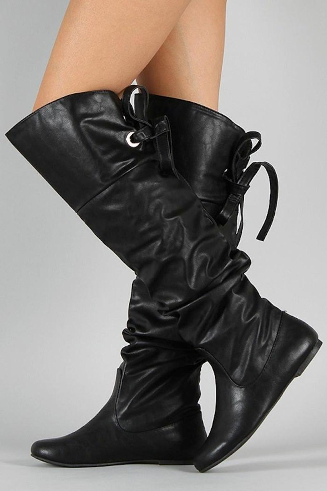 Soda Slouchy Lace-Back Boot - Back Cropped Image