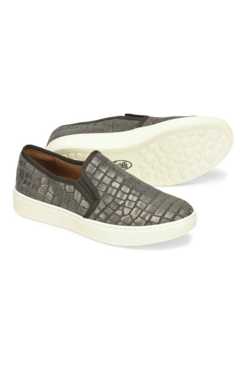 Sofft Somers Slip on in Grey Nubuck - Back Cropped Image