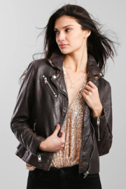 Mauritius Sofia Black-Brown Leather Moto Jacket - Front cropped