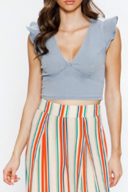 Flying Tomato Sofia Ruffle Sleeve Crop Top - Product Mini Image