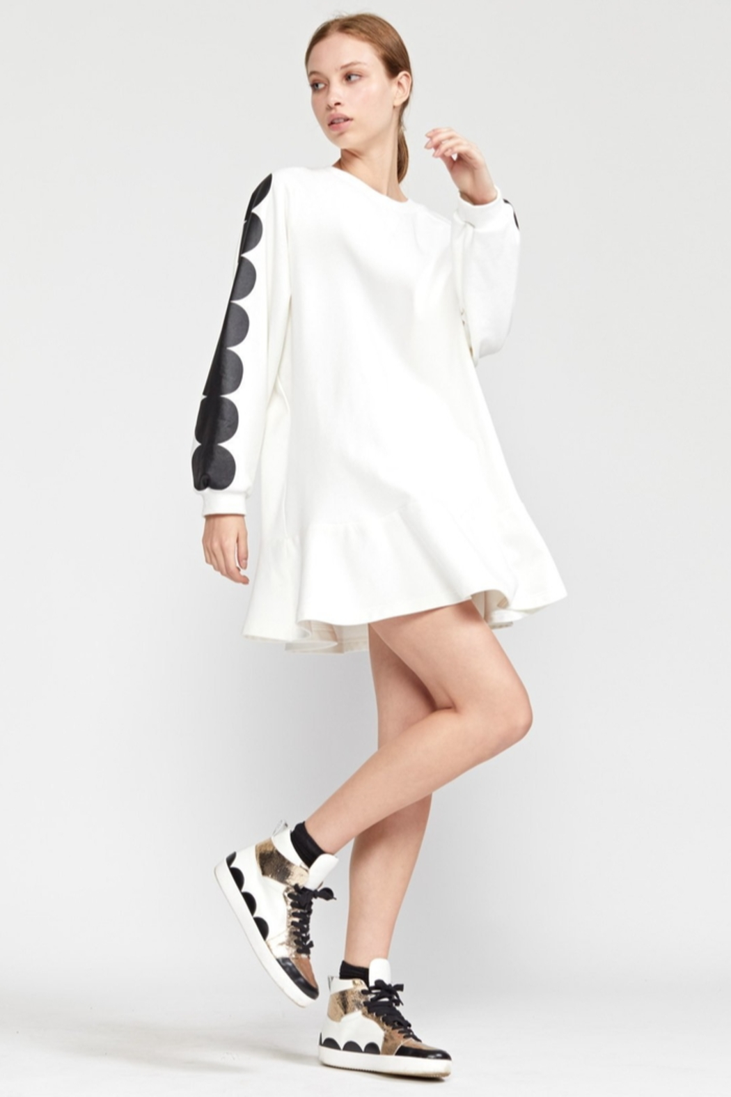 Cynthia Rowley Sofie Printed Scallop Sweatshirt Dress - Back Cropped Image