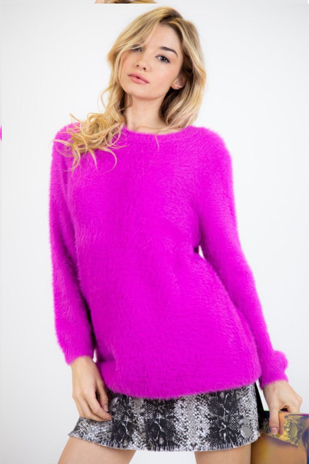 Fashion District LA Soft Angora Style Sweater - Front Cropped Image