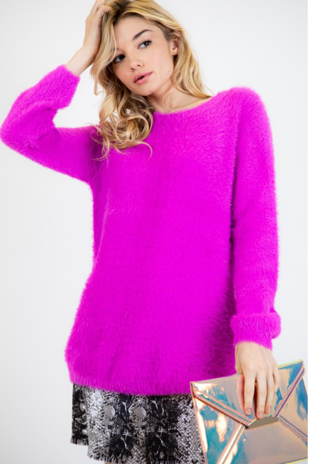 Fashion District LA Soft Angora Style Sweater - Front Full Image