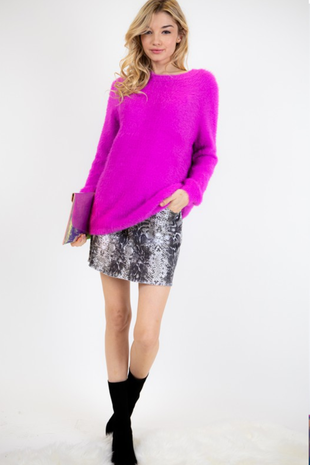Fashion District LA Soft Angora Style Sweater - Side Cropped Image