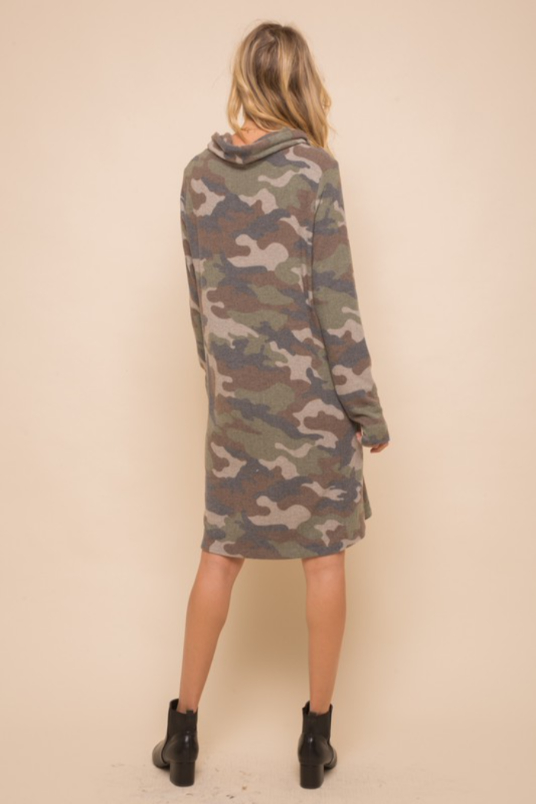 Hem & Thread Soft Brushed Camo Knit Dress - Back Cropped Image