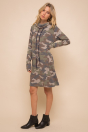 Hem & Thread Soft Brushed Camo Knit Dress - Front full body