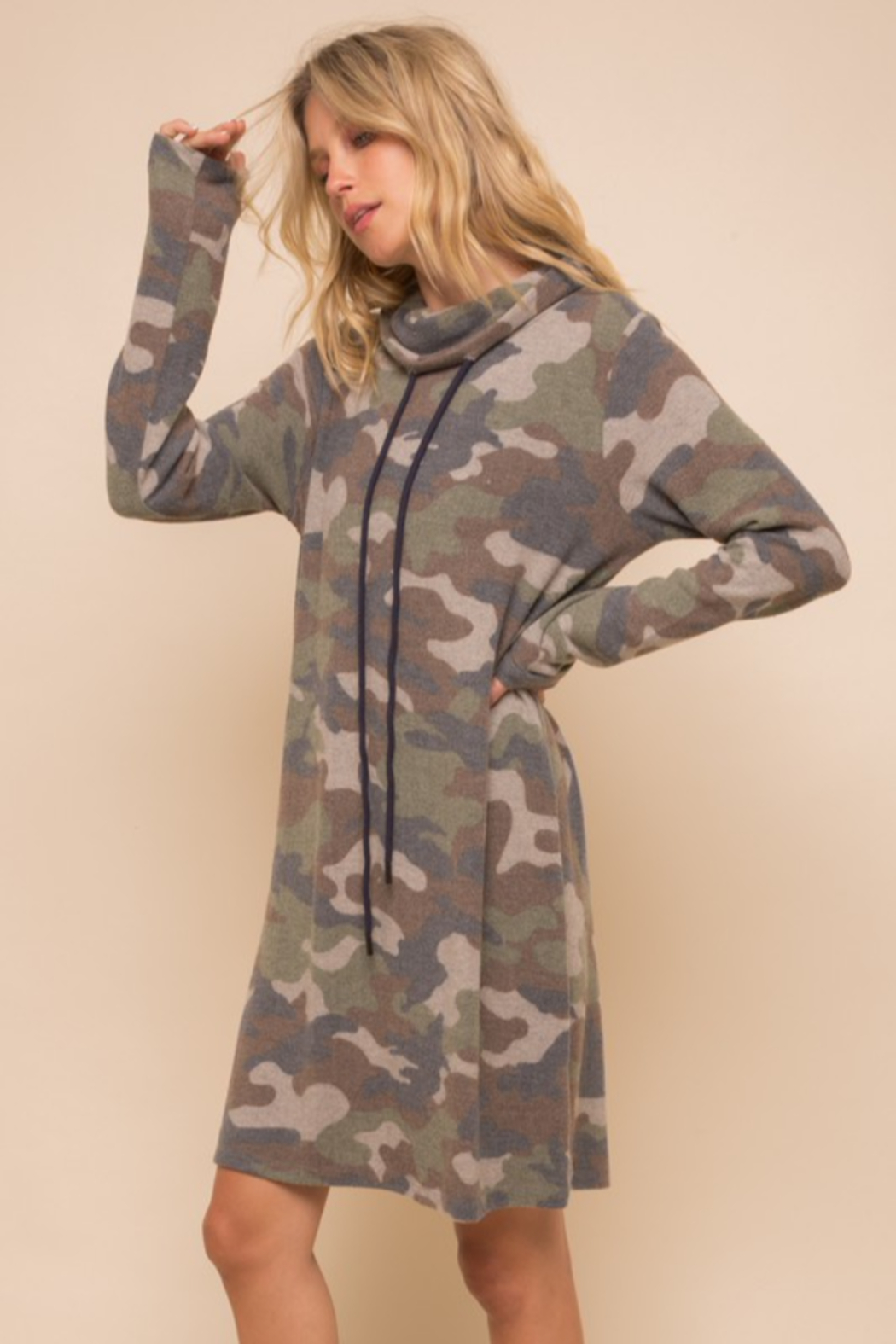 Hem & Thread Soft Brushed Camo Knit Dress - Main Image