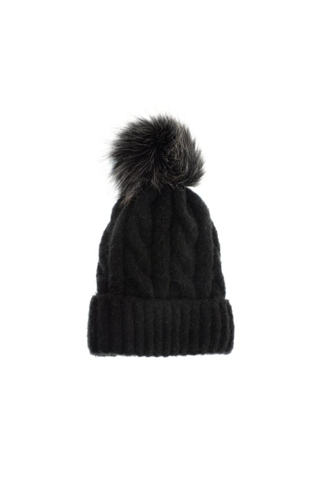 JOY ACCESSORIES INC Soft Cable Knit Pom Pom Hat - Front Cropped Image