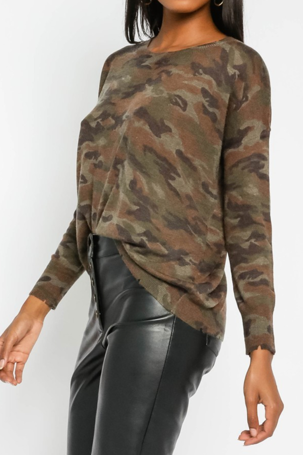 Olivaceous  Soft Camo Sweater - Main Image