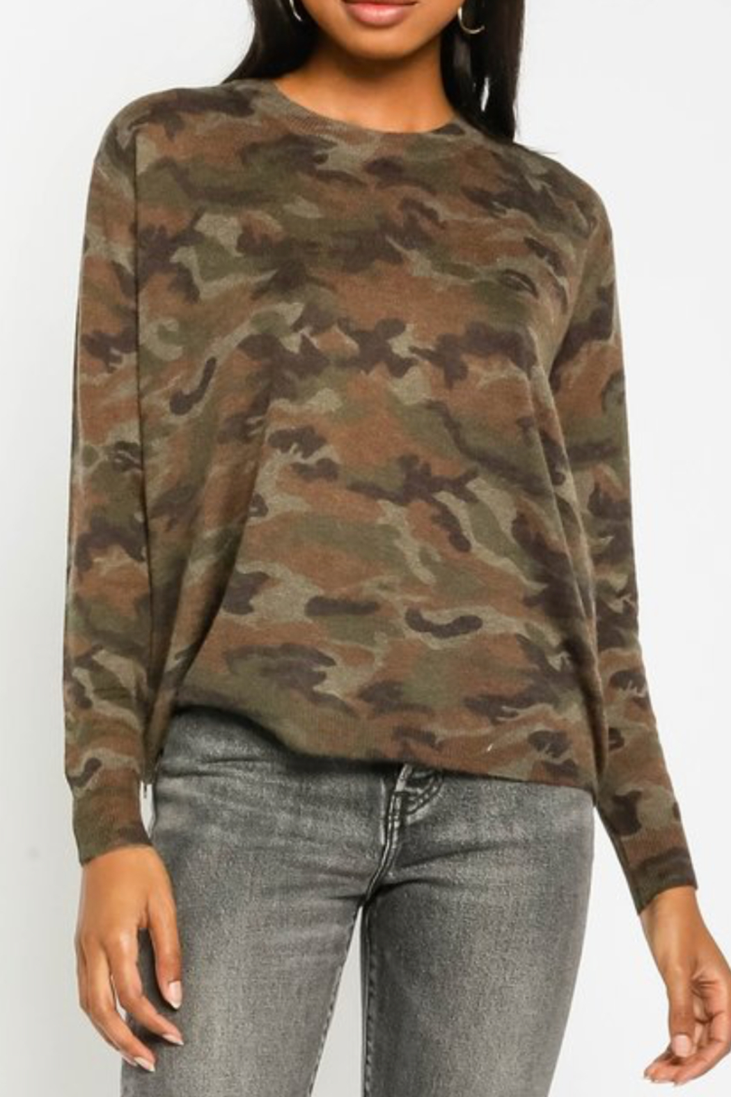 Olivaceous  Soft Camo Sweater - Front Full Image