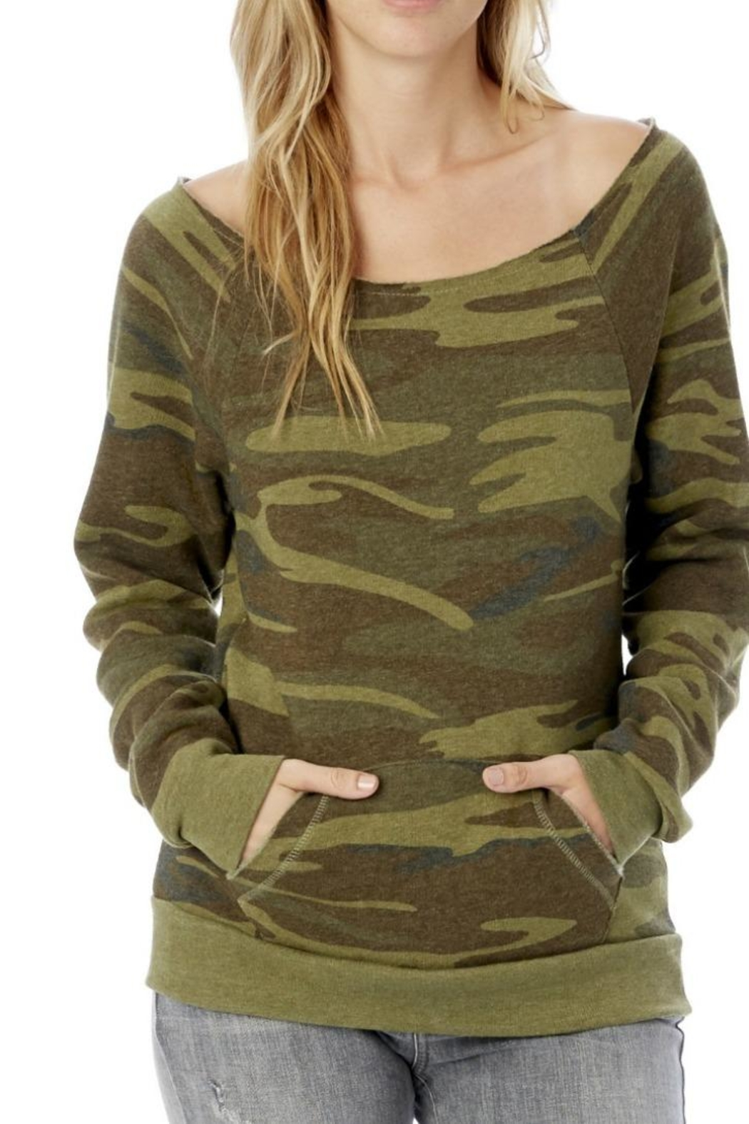Alternative Apparel Soft Camo Sweatshirt - Front Cropped Image