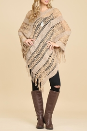 Riah Fashion Soft-Crochet Fringe Poncho - Product Mini Image