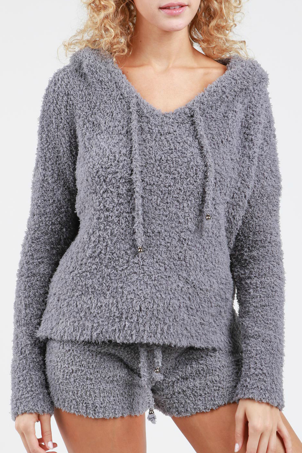 Pol Clothing Soft Fleece Hoodie w Drawstring - Front Cropped Image