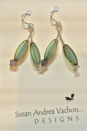 438-1009 Soft Green Branch Earrings - Product Mini Image