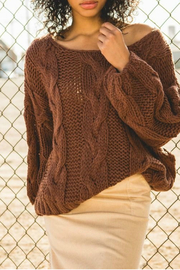 POL Soft hand-made knit sweater in a relaxed bodice - Product Mini Image