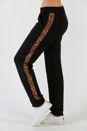 Mila Soft Joggers w Cheetah Trim - Front cropped