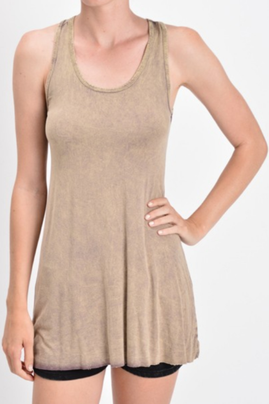 T Party Soft Knit Tunic Length Tank Top - Front Cropped Image
