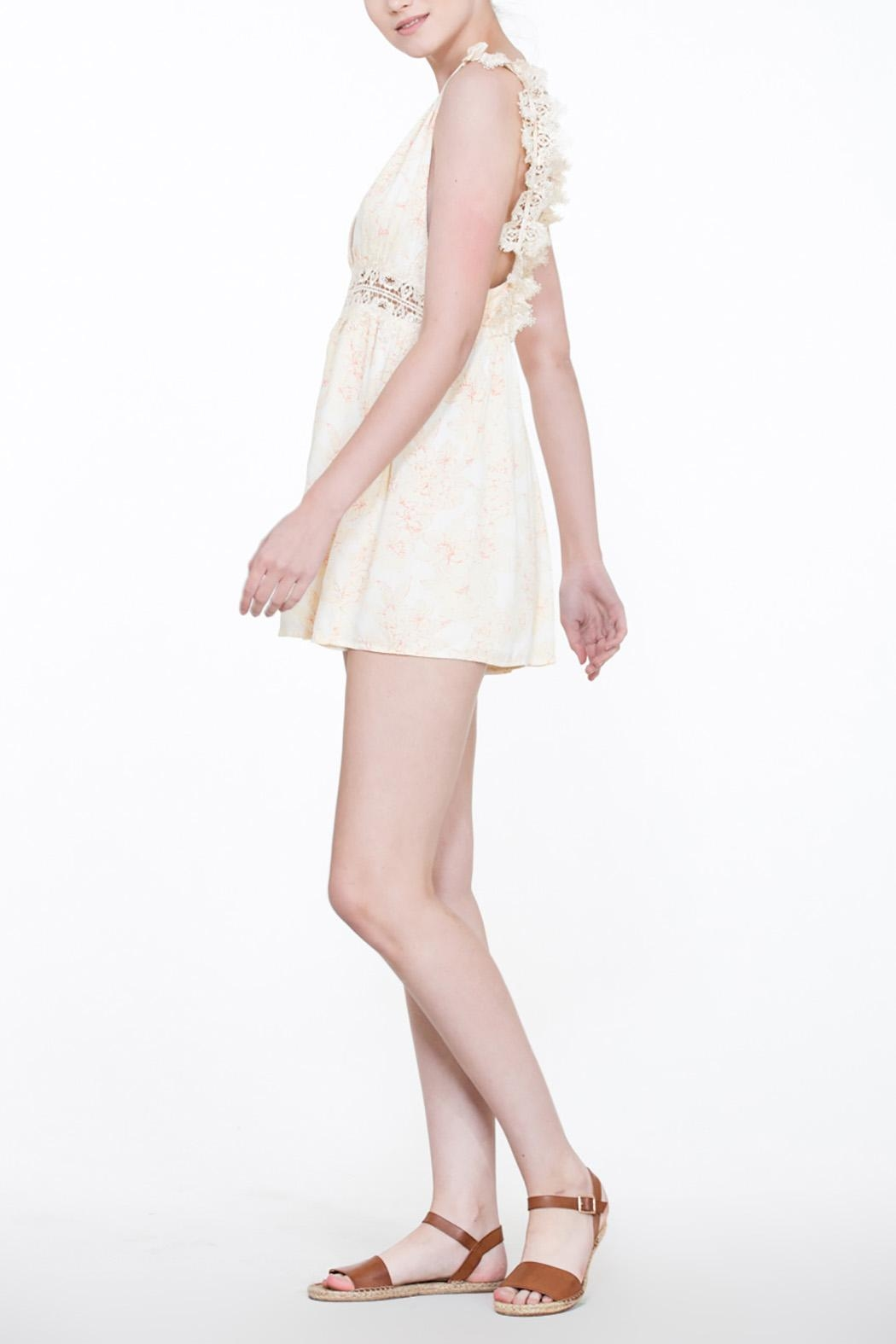 En Creme Soft Lace Romper - Back Cropped Image